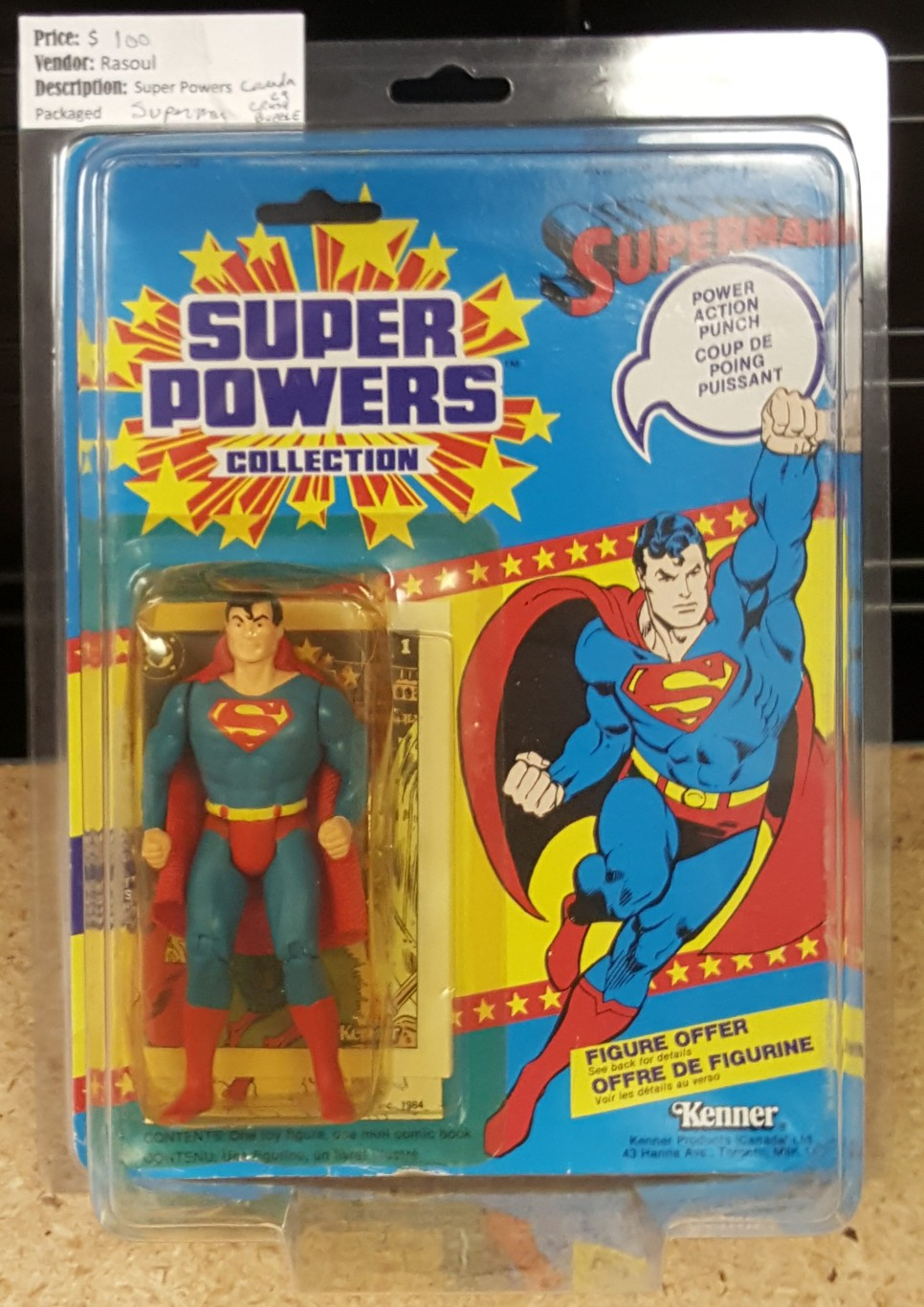 Kenner Super Powers Superman Canada Cardback Vintage